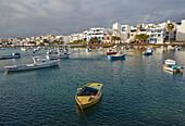 Multicoloured fishing-boats at the Charco San Ginés at Arrecife, Atlantic Ocean, Lanzarote, Canary Islands, Islas Canarias, Spain, Europe