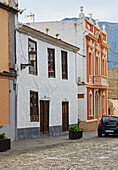 Houses at the main square at Buenavista del Norte, Tenerife, Canary Islands, Islas Canarias, Atlantic Ocean, Spain, Europe