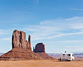Travel trailer parked in the Monument Valley, Arizona, Utah.