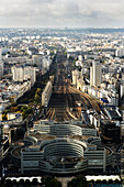 High elevation view of Paris cityscape.