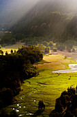 At sunrise, a elevated view of farm land along the Columbia River Gorge. Oregon.