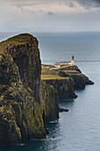 Coastal cliffs and Neist Point Lighthouse, Isle of Skye, Scotland, UK