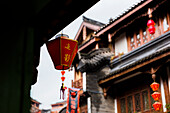 Selective focus of light ornament in Maotai, China