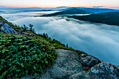Scenery with view from mountain of fog rising from Echo Lake at dawn in Acadia National Park, Maine, USA