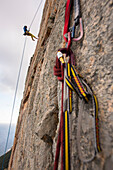 Rock climbing in Jurassic Park, Sardinia. Climbers are Italian boy Matteo Pasquetto and Polish girl Magda Drapella. Climbing in trad style, with only friends and nuts as protection, on beautiful granite in fantastic location near the Mediterranean sea.