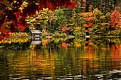 Fall foliage reflected in Chocorua Lake in Tamworth, New Hampshire, USA