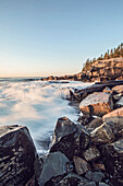 Rocky coastline scenery under clear sky, Schoodic Peninsula, Acadia National Park, Maine, USA