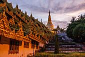 Dusk at Shwedagon Pagoda in Yangon, Myanmar