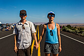 Couple waiting to watch solar eclipse, August 8, 2017, Maupin, Oregon, USA
