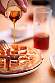 Waffles with honey, Chelsea, Manhattan, New York City, USA