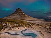 nighttime at Kirkjufell mountain, Grundarfjörður, Snaefellsnes peninsular, Iceland