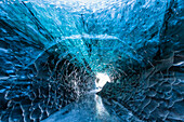 View towards the entrance of a icecave in the Breidar-Merkurjökull glacier, southcoast, Iceland
