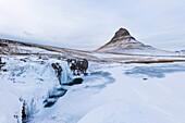 snow at Kirkjufell mountain, Grundarfjörður, Snaefellsnes peninsular, Iceland