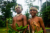 Traditional dressed boys in a war ceremony, Manus Island, Admiralty Islands, Papua New Guinea, Pacific