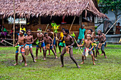 Young people practicing traditional dance, Manus Island, Admiralty Islands, Papua New Guinea, Pacific