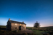 Nuns Cross Farm under stars, Dartmoor National Park, Devon, England, United Kingdom, Europe