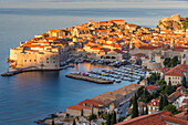 Elevated view over the old town of Dubrovnik at first sunlight, UNESCO World Heritage Site, Dubrovnik, Croatia, Europe