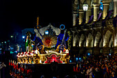 Nightly procession passing at the town hall of Antigua on Holy Thursday during the Holy Week 2017, Antigua, Guatemala, Central America