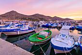 Fishing boats at the harbor, Favignana island, Aegadian Islands, province of Trapani, Sicily, Italy, Mediterranean, Europe