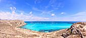 Panoramic of Cala Rossa, Favignana island, Aegadian Islands, province of Trapani, Sicily, Italy, Mediterranean, Europe