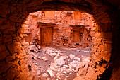 Inside walls of the Berber granary, Agadir Tashelhit, over 700 years old, Anti-Atlas mountains, Morocco, North Africa, Africa