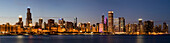 Panoramic of Chicago Skyline at sunset, Chicago, Illinois, United States of America, North America