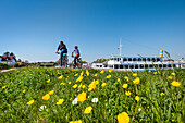 Cyclists, Vitte, Hiddensee island, Mecklenburg-Western Pomerania, Germany