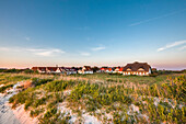Thatched house at sunset, Vitte, Hiddensee island, Mecklenburg-Western Pomerania, Germany