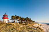 Lighthouse and beach, Gellen, Hiddensee island, Mecklenburg-Western Pomerania, Germany