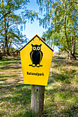 National park sign, Hiddensee island, Mecklenburg-Western Pomerania, Germany