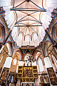 Interior, Nikolai church, Stralsund, Mecklenburg-Western Pomerania, Germany