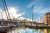Marina and old town, Stralsund, Mecklenburg-Western Pomerania, Germany