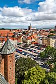 View from Marienkirche towards old town and Nikolaikirche, Stralsund, Mecklenburg-Western Pomerania, Germany