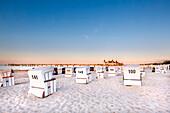 Beach chairs and pier, Ahlbeck, Usedom island, Mecklenburg-Western Pomerania, Germany