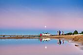 Full moon above pier, Ahlbeck, Usedom island, Mecklenburg-Western Pomerania, Germany
