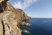 Poris de Candelaria, Cueva de Candelaria, pirates cave, steep coast near Tijarafe, Atlantic, UNESCO Biosphere Reserve, La Palma, Canary Islands, Spain, Europe