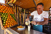 sugar cane juice, man, worker at a market stall, at the festival and cattle market in San Antonio del Monte, UNESCO Biosphere Reserve, La Palma, Canary Islands, Spain, Europe
