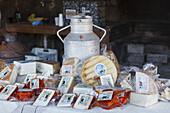 market stall for local cheese, delicatessen, livestock fair in San Antonio del Monte, Garafia region, UNESCO Biosphere Reserve, La Palma, Canary Islands, Spain, Europe