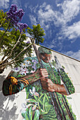 Graffiti Tanausu, mural by Matias Mata, alias Sabotaje al Montaje, Casa de la Cultura, culture centre,  El Paso, UNESCO Biosphärenreservat,  La Palma, Kanarische Inseln, Spanien, Europa
