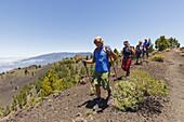 hiking, group, Graja Tours, ascent to Birigoyo mountain, 1807m,  Parque Natural de Cumbre Vieja, UNESCO Biosphere Reserve, La Palma, Canary Islands, Spain, Europe