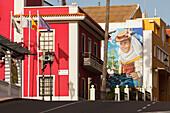 Town hall, Graffiti, mural by Matias Mata, alias Sabotaje al Montaje, El Paso, UNESCO Biosphere Reserve, La Palma, Canary Islands, Spain, Europe