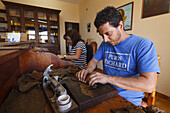 worker forming a cigar, man, manufacture of cigars, cigars, Brena Alta, UNESCO Biosphere Reserve, La Palma, Canary Islands, Spain, Europe