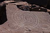 petroglyphs, indigenous art, prehistoric, near Pared de Roberto, crater rim, Caldera de Taburiente, UNESCO Biosphere Reserve, La Palma, Canary Islands, Spain, Europe
