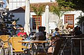 street cafe, Plaza de Espana, main square, Los Llanos de Aridane, UNESCO Biosphere Reserve, La Palma, Canary Islands, Spain, Europe