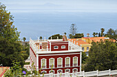 view across Casa Roja to Atlantic ocean, red house, folk museum, Villa de Mazo, UNESCO Biosphere Reserve, La Palma, Canary Islands, Spain, Europe