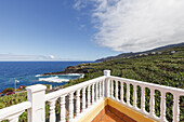 view from the terrace, Apartamentos Miriam, San Andres y Sauces, village, banana plantations and coastline, Atlantic, UNESCO Biosphere Reserve, La Palma, Canary Islands, Spain, Europe