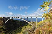 Puente de Los Tilos, longest arch bridge of Spain, Barranco de Aguas, gorge, near Los Sauces, San Andres y Sauces, UNESCO Biosphere Reserve, La Palma, Canary Islands, Spain, Europe