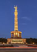 Siegessaeule am Abend, Verkehr, Berlin