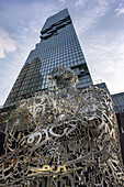 MahaNakhon tower in Sathorn , 314 meter skycraper,  sculpture by Jaume Plensa, Bangkojk Soul (2016)  , representing hope, beauty, unity & symbolic nature of language,  Bangkok, Thailand