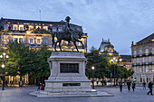 Equestrian statue of King Peter IV The Liberator on Liberty Square in Porto, Portugal